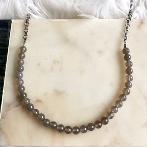 Lia Sophia Infinite me Necklace Genuine Grey Agate
